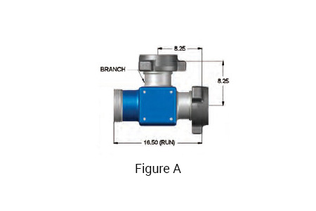 Figure: A - 4 inch 1002 Integral Fitting Tee with 4 inch 1002 Female x 4 inch 1002 Male Run and a 4 inch 1002 Male Branch