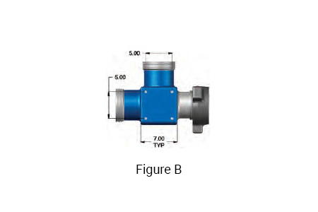Figure B: TSI Flow Products 4 inch 1002 integral fitting tee with 4 inch 1002 Female x 4 inch 1002 Male Run and a 4 inch 1002 Female Branch