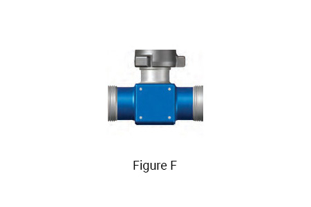 Figure F: 4 inch 1002 integral fitting TEE with a 4 inch 1002 Female x 4 inch 1002 Female Run and a 4 inch 1002 Male Branch