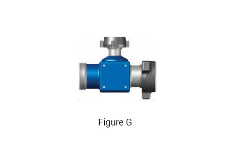 Figure G: 4 inch 1002 integral fitting tee with a 4 inch 1002 Female x 4 inch 1002 Male Run and a 2 inch 1502 Male Branch