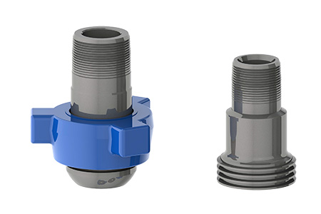 TSI Flow Products Threaded Nipples shown in Male and Female configurations