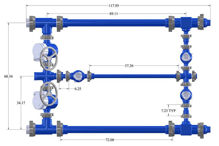 "4"" Trash Catcher Manifold with 3"" 1502 Gear Operated Plug Valves"